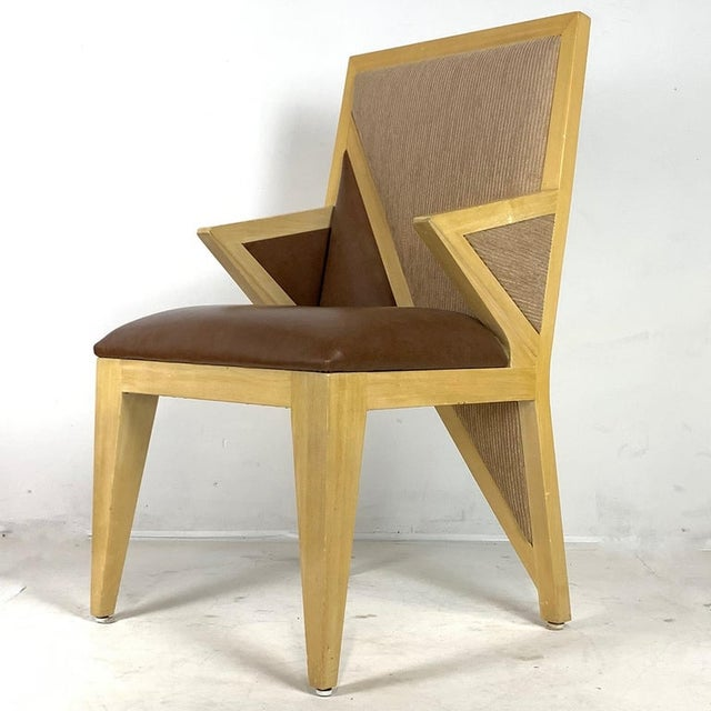 Custom Postmodern Memphis Style Blonde Wood Dining or Occasional Chairs - Set of 10 For Sale In New York - Image 6 of 12