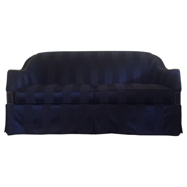 "Hickory Chair ""Eton"" Navy Blue Sofas - A Pair - Image 1 of 3"
