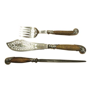 Antique Antler Carving Set - Set of 3 For Sale