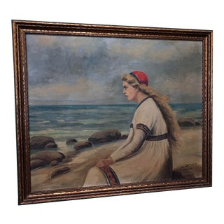 Mid-Century Modern Woman by the Sea Oil Painting by Joh L. Lorenzen For Sale