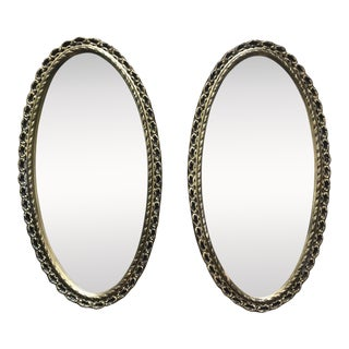 Pair of Vintage English Gold Mirrors For Sale