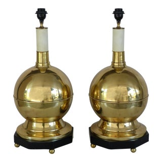 MCM Brass Sphere Table Lamps- a Pair