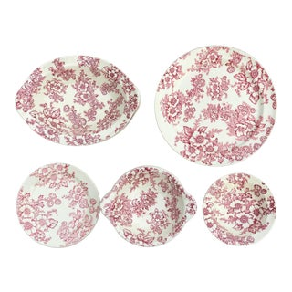 Vintage Floral Plates & Serveware - Set of 10