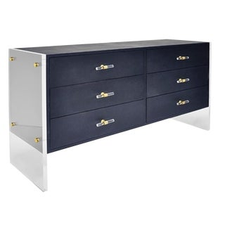 Worlds Away Contemporary Faux Navy Blue Shagreen and Lucite Chest of Drawers For Sale