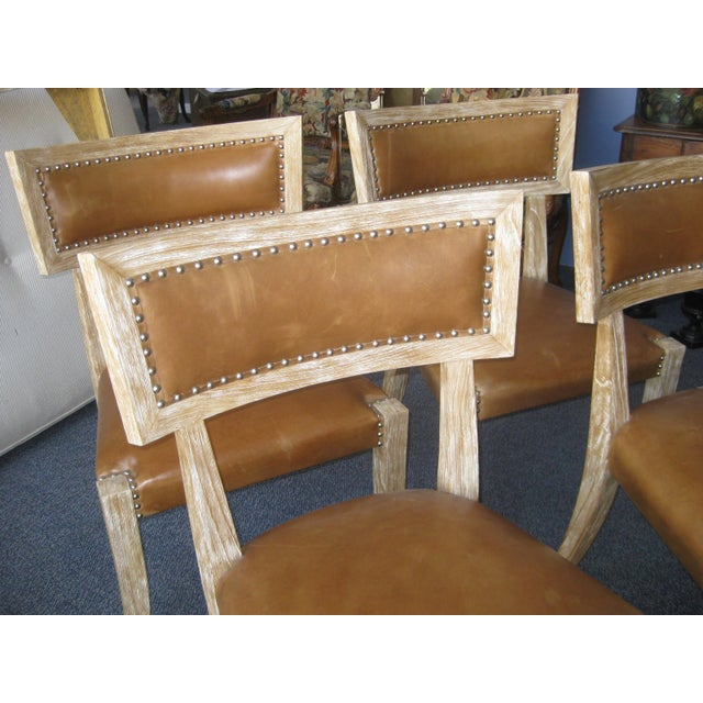 Klismos Style Chairs With Leather Seats - Set of 4 - Image 5 of 9