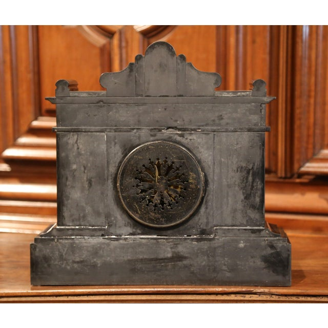 Late 19th Century 19th Century French Napoleon III Black and Green Marble Mantel Clock With Inlay For Sale - Image 5 of 8