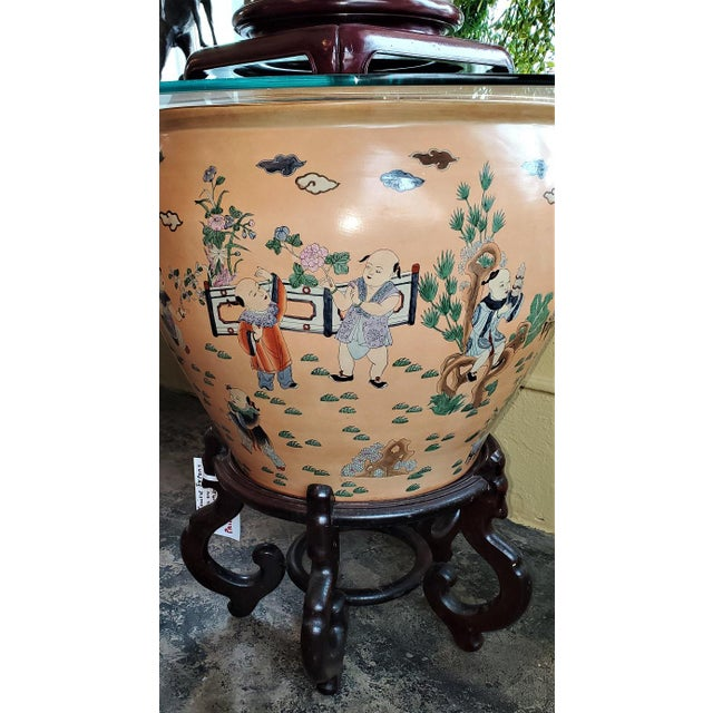 Large Chinese Fish Bowl Side Table With Stand For Sale - Image 11 of 13