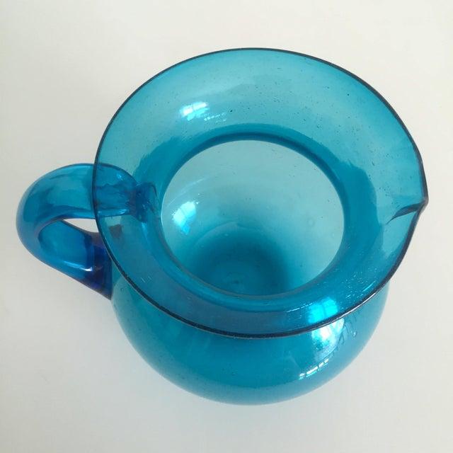 Mid-Century Blue Blenko Glass Pitcher - Image 10 of 11