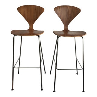 Cherner Authentic Walnut Bar Stools - a Pair