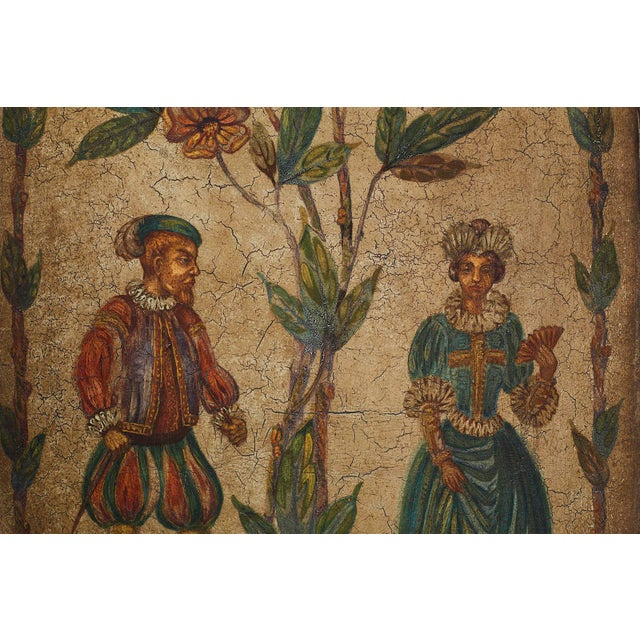 Blue 19th Century English Renaissance Revival Leather Painted Screen For Sale - Image 8 of 13
