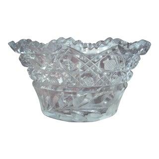 Geometric Cut Glass Bowl For Sale