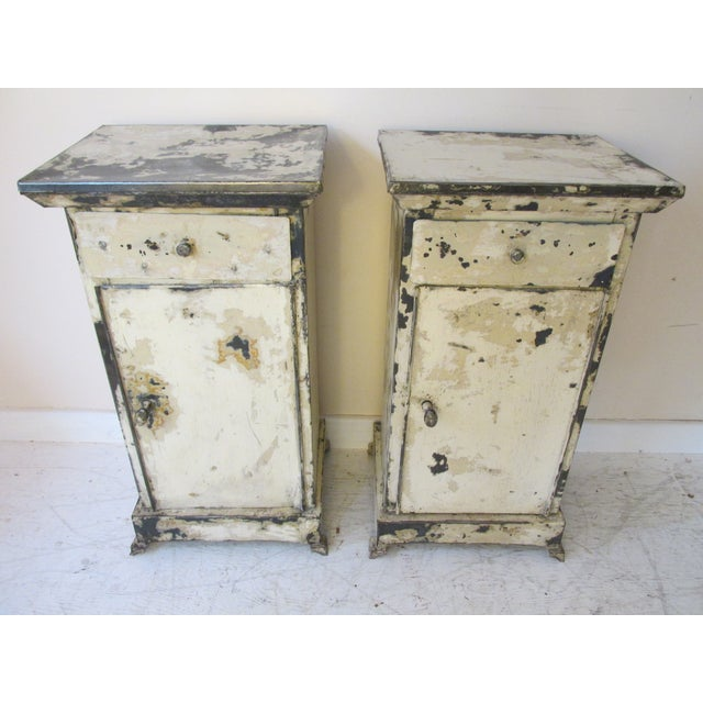 Antique French Shabby Chic Nightstands - A Pair - Image 2 of 10