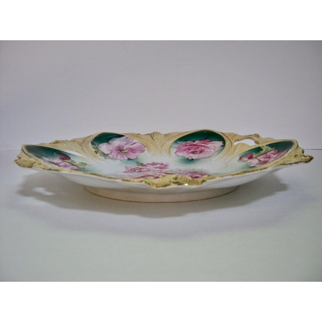 1890s RS Prussia Hand Painted Rose Cake Dish For Sale - Image 4 of 6