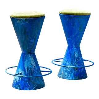Vibrant Studio Barstools, a Pair For Sale