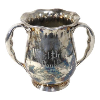 1894 Antique Art Nouveau Silverplate Tennis Trophy For Sale