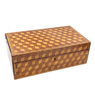 Very Large Marquetry Box With Impressive Tumbling Block Inlay, Early 19th Century. For Sale