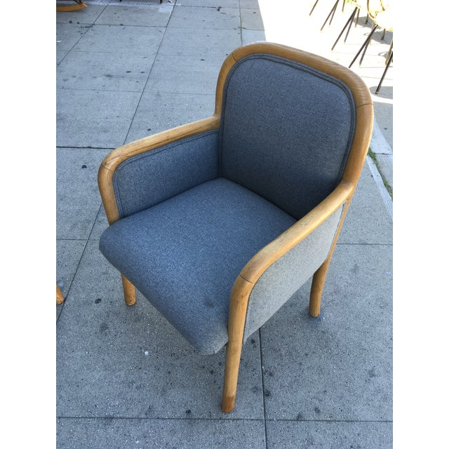 Gray 1980s Vintage Sculptural Oak Frame Arm Chairs - a Pair For Sale - Image 8 of 11