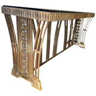 Spectacular Art Deco Modernist Bronze Console Table Designed By Edgar Brandt For Sale