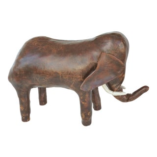 Dimitri Omasar for Abercrombie Leather Elephant Footstool For Sale