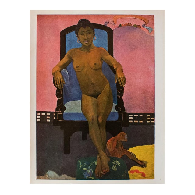 1940s Paul Gauguin, Annah the Javanese With a Monkey Original Swiss Lithograph For Sale