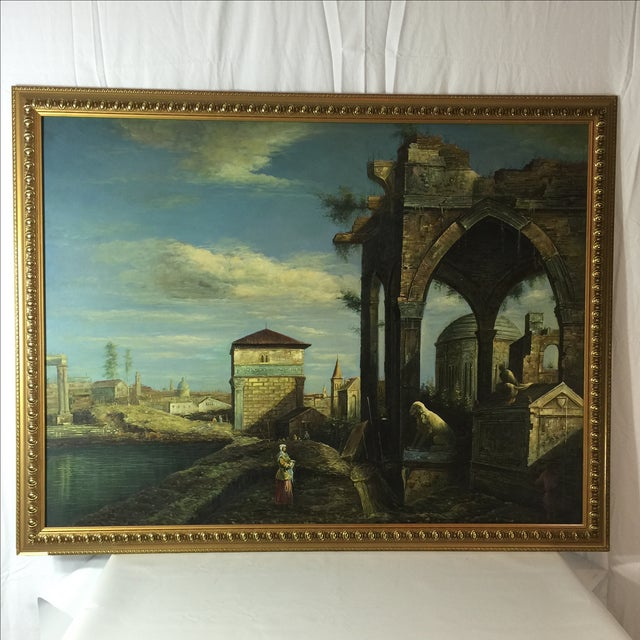 Beautiful decorative painting acrylic on canvas representing Italian village. From 1980s, frame with wood gold leaf.