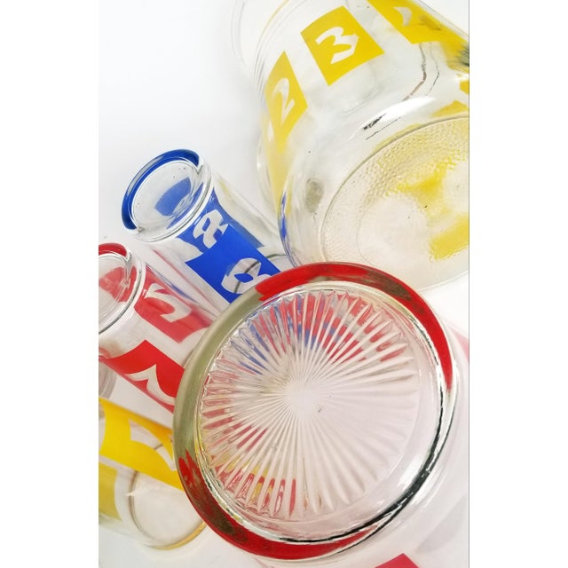 Metal Mid-Century Decanter, Ice Bucket and Highball Glasses Numbered in Bright Primary Colors - Set of 10 For Sale - Image 7 of 13