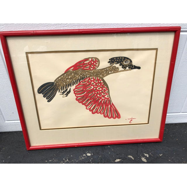 This gorgeous gold, black and red signed acrylic painting of a bird is stunning. The piece is matted in ivory fabric and...