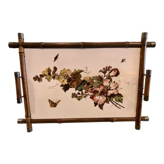 Vintage English Cottage Bamboo and Tile Tray For Sale