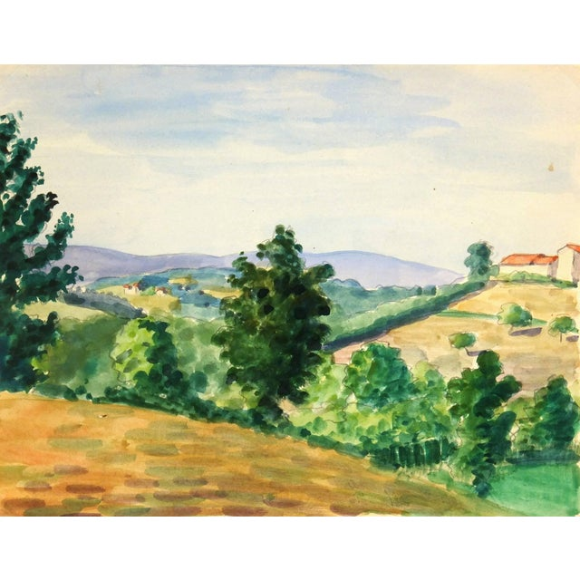 Watercolor Country Landscape, C. 1950 For Sale - Image 4 of 4