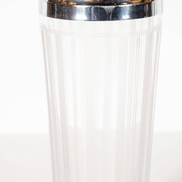 American Art Deco Machine Age Etched Glass and Chrome Cocktail Shaker For Sale In New York - Image 6 of 8