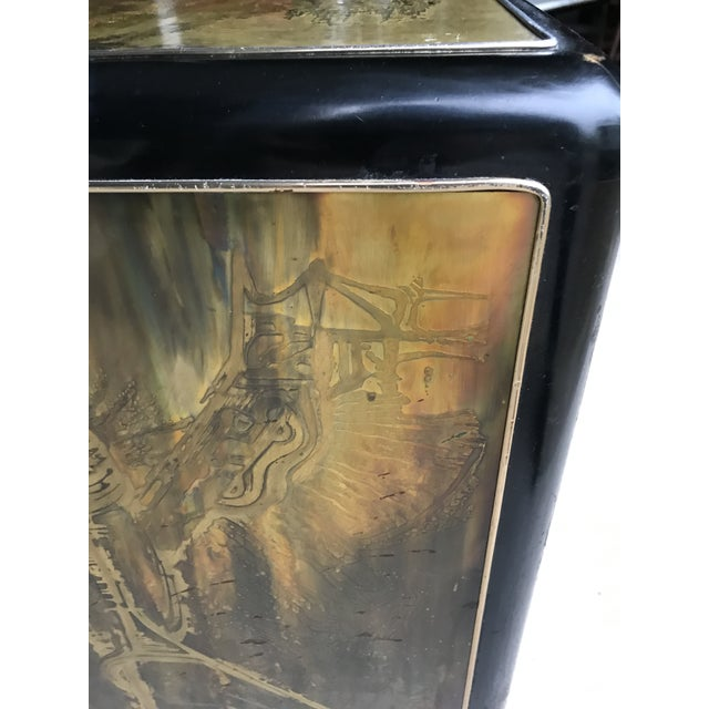 Gold Mastercraft Acid Etched Brass & Black Lacquer 3 Drawer Dresser Bernhard Rohne For Sale - Image 8 of 12