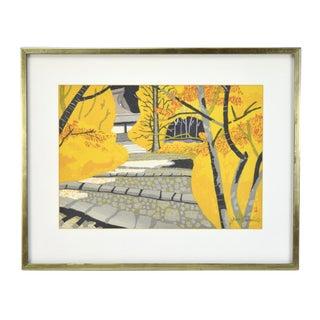 """Vintage Mid-Century Japanese """"Ishiyakushi"""" Woodblock Print by Sekino"""