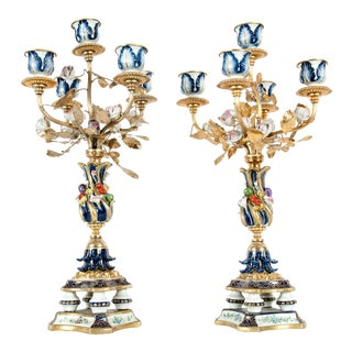 Very Fine Sèvres Porcelain Five Arms Candelabra - a Pair For Sale
