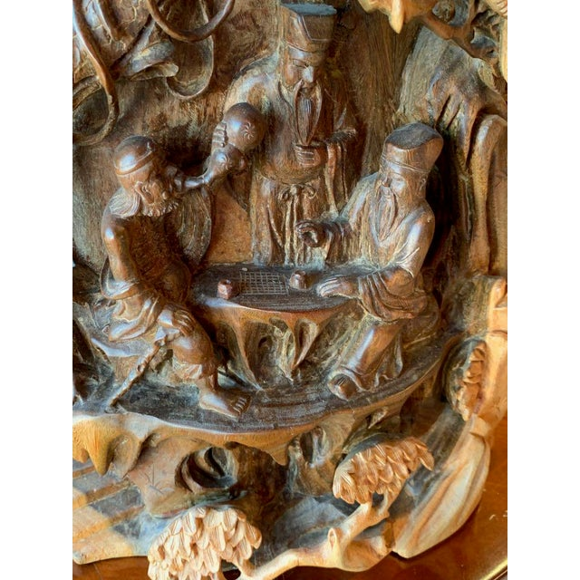 Brown Chinese Immortals Carved Elm Brush Pot For Sale - Image 8 of 11