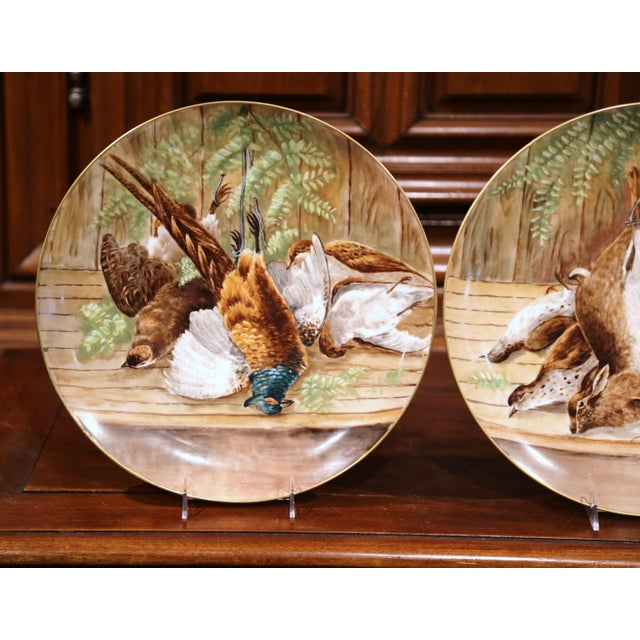 French 19th Century French Hand-Painted Porcelain Hunting Scenes Wall Platters - a Pair For Sale - Image 3 of 11