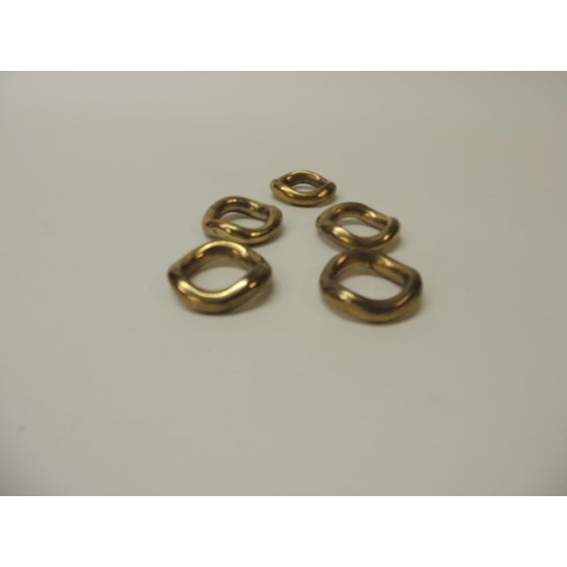 Hollywood Regency Set of 5 Solid Brass Ralph Lauren Ribbon Napkin Holders For Sale - Image 3 of 6