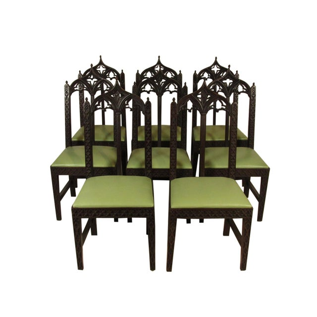 19th Century. Vintage Gothic Dining Chairs - Set of 8 For Sale - Image 12 of 12