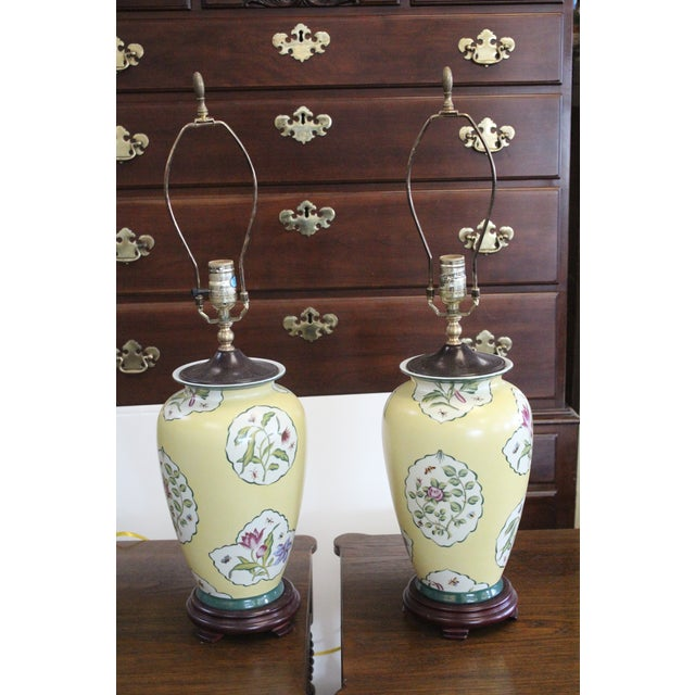 Yellow Early 20th Century Chinese Yellow Lamps - a Pair For Sale - Image 8 of 8