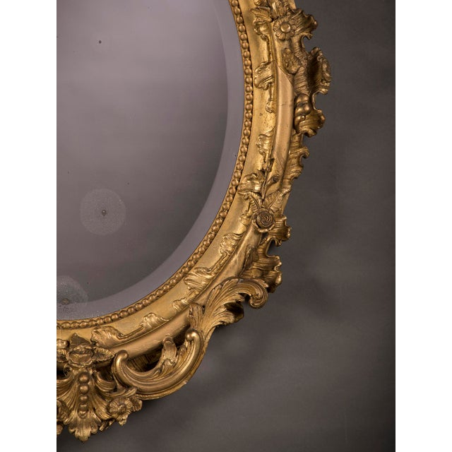 19th Century Gilded Oval Frame French Mirror For Sale In Houston - Image 6 of 6