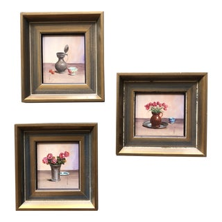 Gallery Wall Collection 3 Miniature Still Life Paintings- With Flowers & Pots Signed V.Weley For Sale