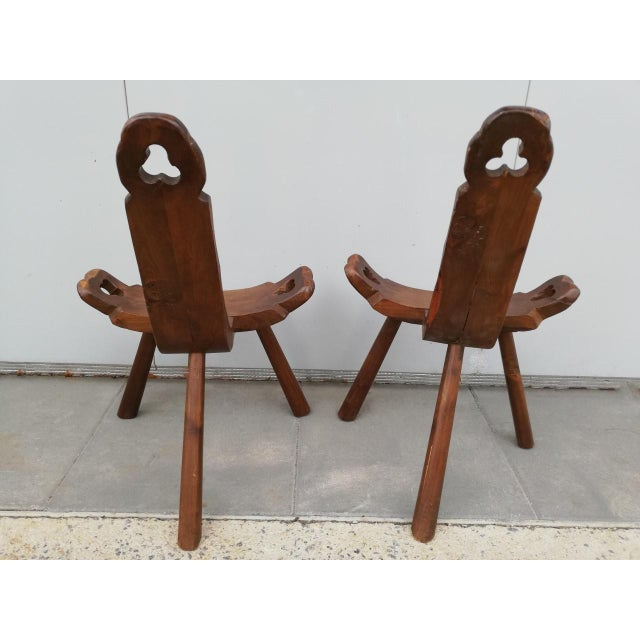 Brown 1950s Vintage Tripod Antique Brutalist Chairs- a Pair For Sale - Image 8 of 9