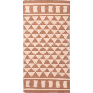 Contemporary Diamond Geometric Cotton Flat Weave Rug - 3′ × 5′11″ For Sale