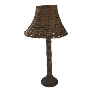 Faux Bamboo Lamp W/Woven Rattan Shade For Sale