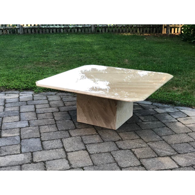Mid-Century Modern Art Deco Italian Travertine Coffee Table For Sale - Image 3 of 13
