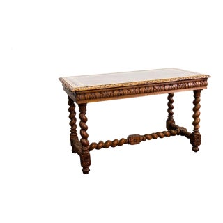 Carved English Barley Twist Writing Table with Hidden Drawer For Sale