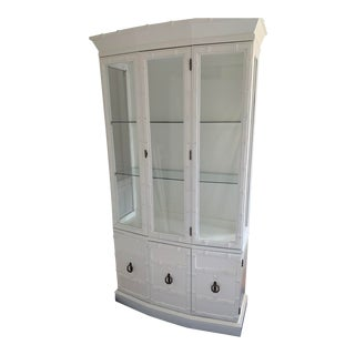 Vintage Faux Bamboo White Painted Hutch For Sale