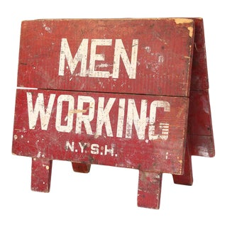 Vintage Men Working Sign For Sale