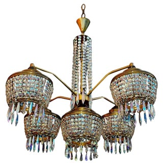 1960s Iridescent Crystal Chandelier For Sale