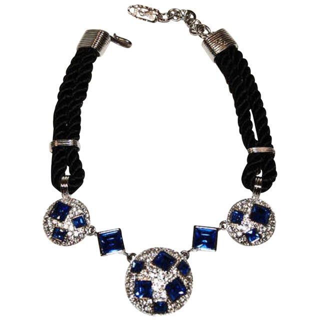 Circa 1990 Yves Saint Laurent Blue Rhinestone, Silk and Silver-Toned Metal Necklace For Sale