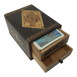Vintage Made in Japan Playing Card Box With 2 Drawers For Sale